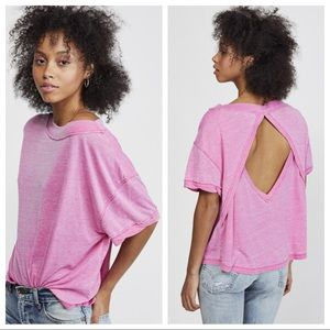 Free People Viola Tee Magenta Pink Open Back Top